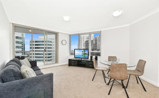 Chatswood Brown 2 bed corporate apartment lounge