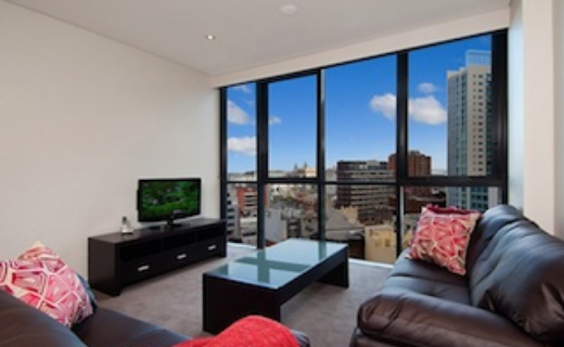 Haymarket George 1 bed corporate apartment lounge