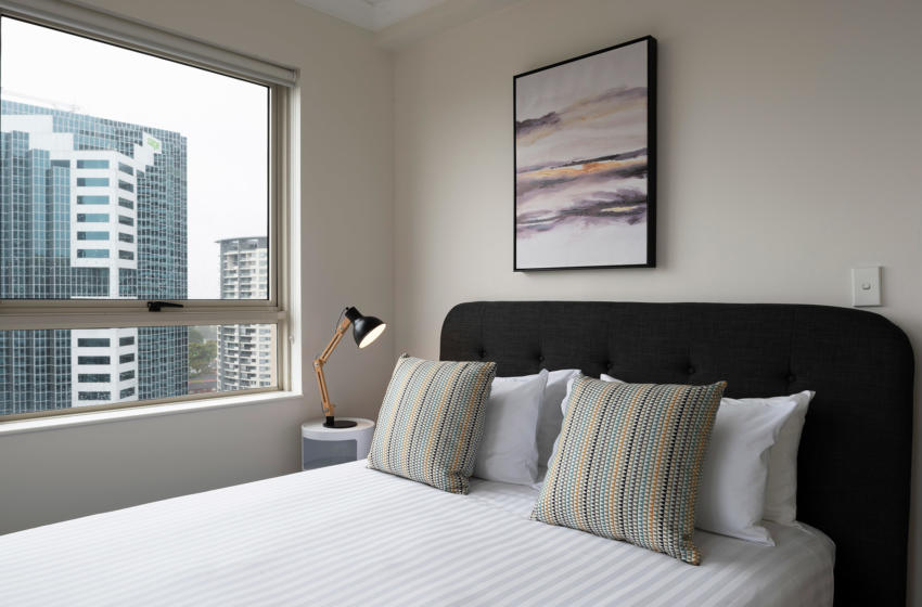 Chatswood Brown 1 bed corporate apartment bedroom