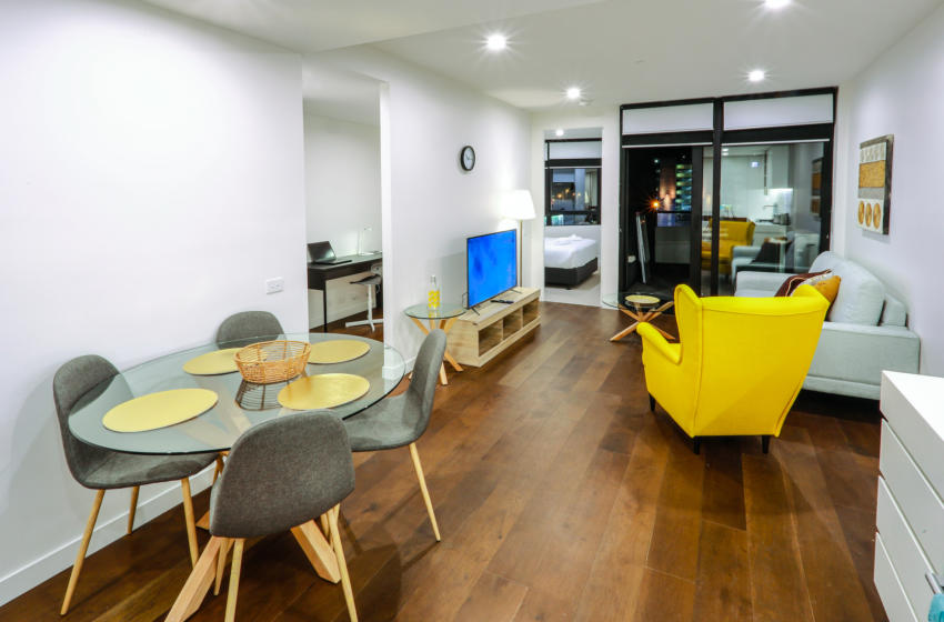 Glen Waverley O'Sullivan 1 bed study corporate apartment lounge