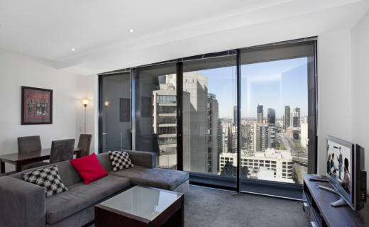 Melbourne Collins 1 bed corporate apartment lounge