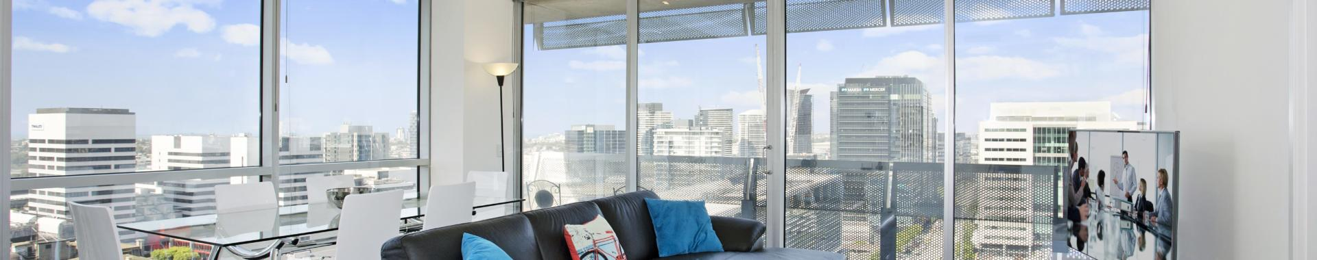 Melbourne Collins 2 bed 2 bath corporate apartment lounge