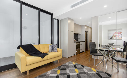 Newcastle Shortland 1 bed studio corporate apartment lounge