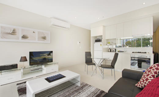 NorthSydney Montrose 1 bed study corporate apartment lounge dining