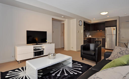 Perth Milligan 1 bed corporate apartment lounge