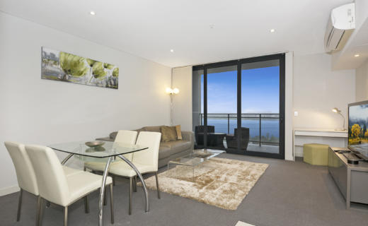 Perth Murray 1 bed corporate apartment dining lounge
