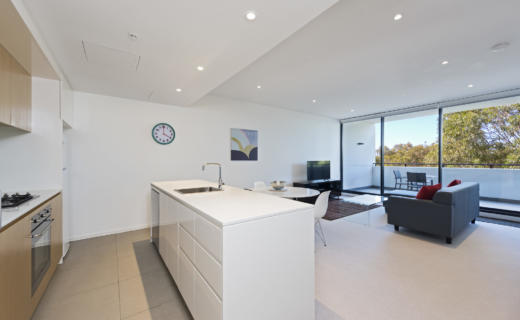 MacquariePark Saunders 1 bed study corporate apartment kitchen