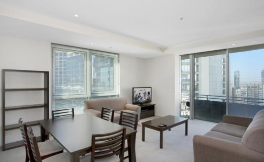 Melbourne Collins 2 bed 1 bath corporate apartment dining lounge