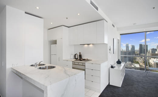 Melbourne Collins 2 bed 2 bath corporate apartment kitchen