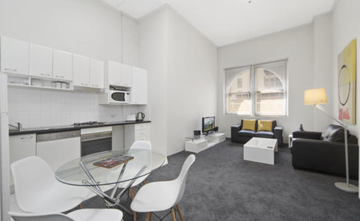 Sydney MidKent 1 bed corporate apartment dining